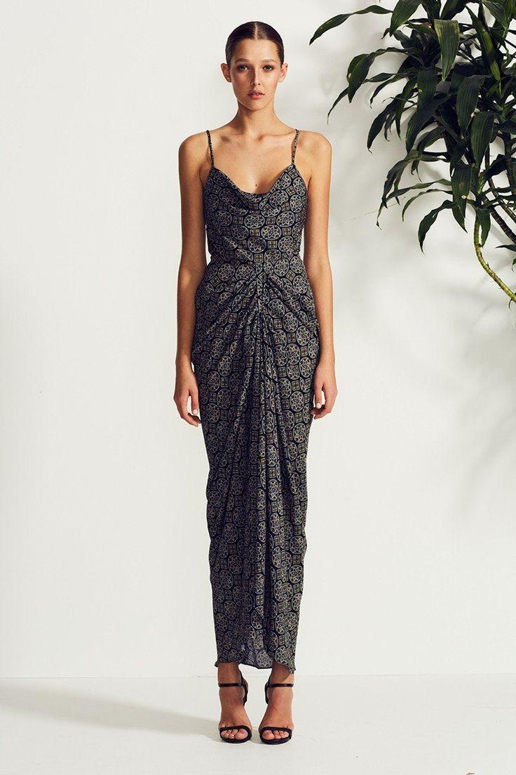 Shona Joy - Tesoro Cowl Draped Maxi Dress Black