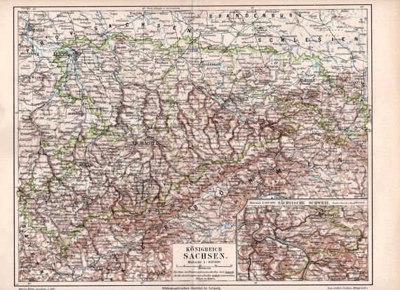 1897 Königreich Sachsen Antique Map Kingdom of by Craftissimo, €12.95