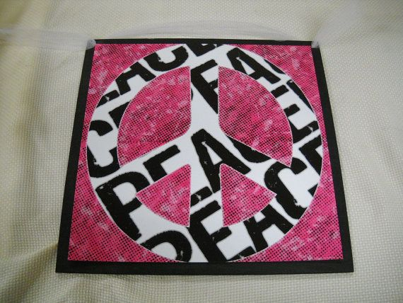 Peace Sign Bedroom Accessories: Black And White Zebra Peace On Pink Wooden Wall Art Sign