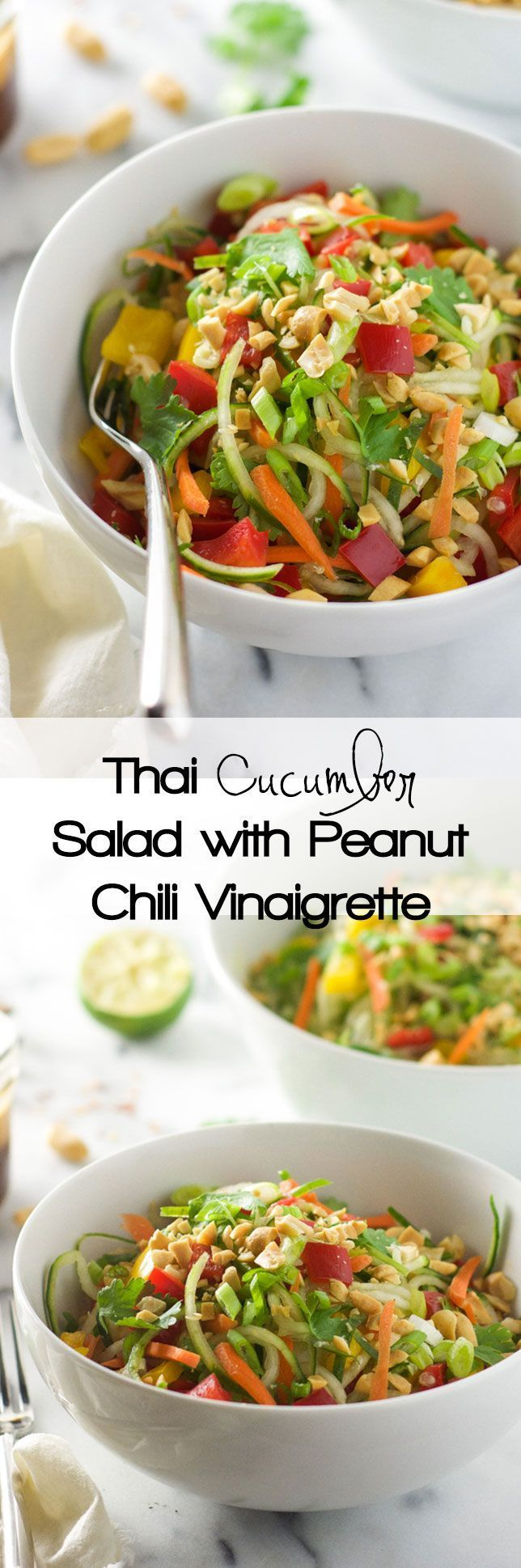 Thai Cucumber Salad with Peanut Chili Vinaigrette is a light and flavorful salad with a sweet and spicy dressing and loaded with vegetables!: