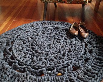 3' Giant Crochet Doily Rug - Charcoal