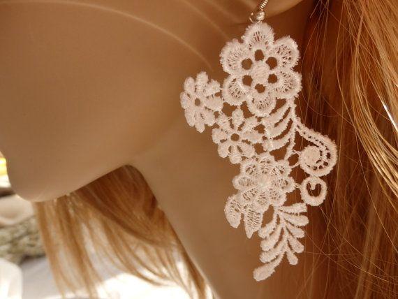 Earrings, Lace Earrings, Floral Earrings, Bridal Earrings, Wedding Floral Earrings, , Valentines Day Gift Ideas
