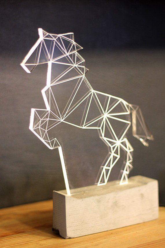 Grosse Moderne Pferd Lampe Beton Reit Tischleuchte Geometrische Led Dekorative Lampe Pferd Nachtlicht Vatertag Geschenk In 2020 Horse Lamp Lamp Decor Door Glass Design