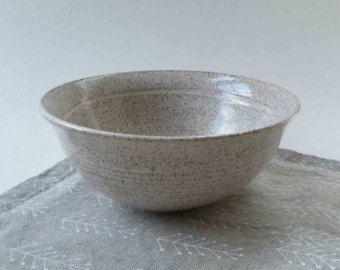 UN listo buque Cereal Bowl, hecho a mano, blanco con manchas marrones, Ice Cream Bowl, tazón de fuente de cerámica Granola, Tigela pequeño