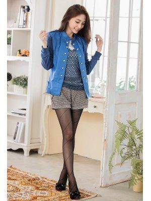 Lady Fashion PU Patchwork Double Breasted Stand Collar Jackets