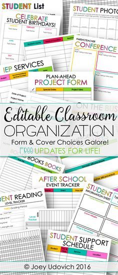 Classroom Organization couldn't be easier!! Completely editable forms in both color and black and white, over 250 cover choices, updated calendars, and MUCH MORE!! Click to see how I get organized!