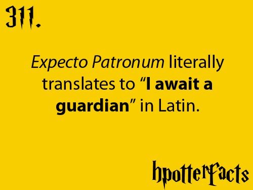 """Expecto Patronum literally translates to """"I await a guardian"""" in Latin."""