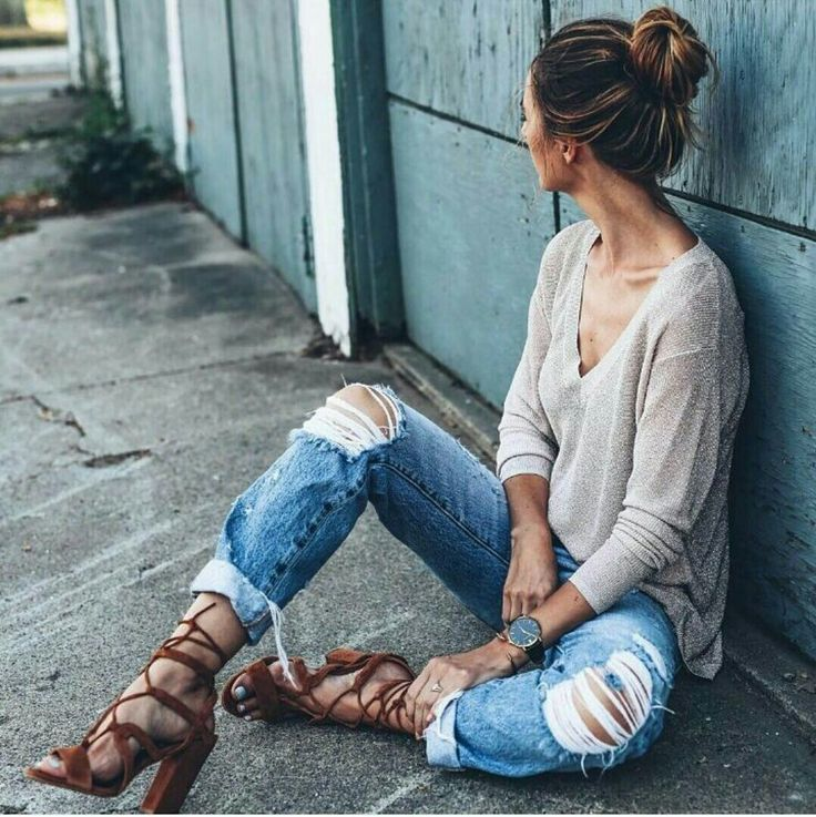 Oatmeal knit sweater, rolled cuff jeans, lace up heels