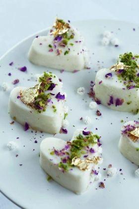 Ice cream hearts with cardamom & rosewater