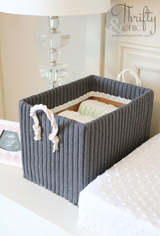 Cute Storage Boxes From Old Sweaters and Boxes - I have a plethora of old boxes and sweaters lying around and am in desperate need of storage pieces. So, instea…