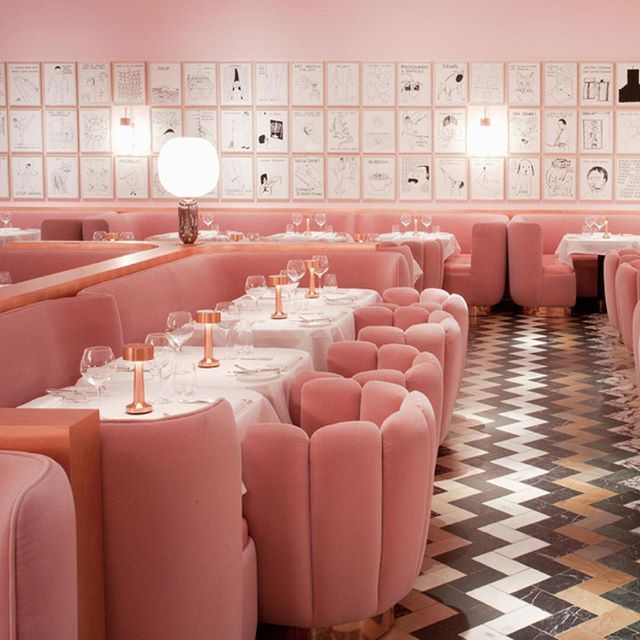 Colour inspo! We are in love with this spectacular pink room from  London's Sketch restaurant. The quirky and very pink 18th-century townhouse is a tea room by day and a bar by night.