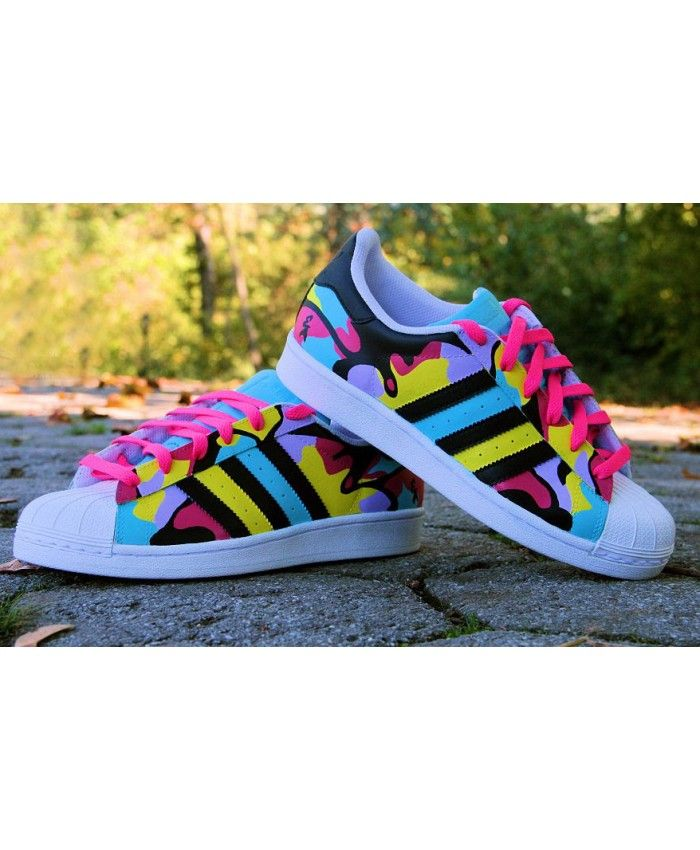 Adidas Superstar Rainbow Bubble Gum Sneakers  26c01dc7ebb