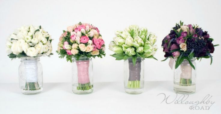 Agee / Mason jars with bouquets by Willoughby Road Floral Boutique