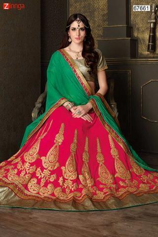Women's Deep Pink Color Pretty Circular Lehenga Choli With Lace Work Dupatta  #Zinngafashion #Lehengas  #Pretty #Special #Offers #Happy#Shopping #Indianwear   #LatestTrend #Womenswear #Designwear #Nice #Picoftheday #Wonderful