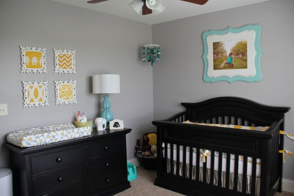 Our Little Baby Boy S Neutral Room: Grey Walls, Black Furniture
