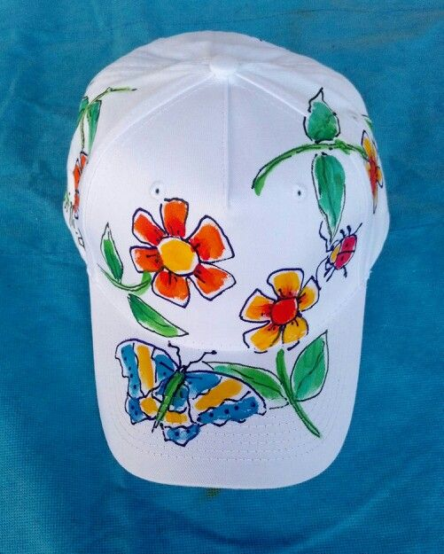 Springtime blossoms on baseball cap.Hand painted ©2014 Deborah Willard aka Willy Nilly.