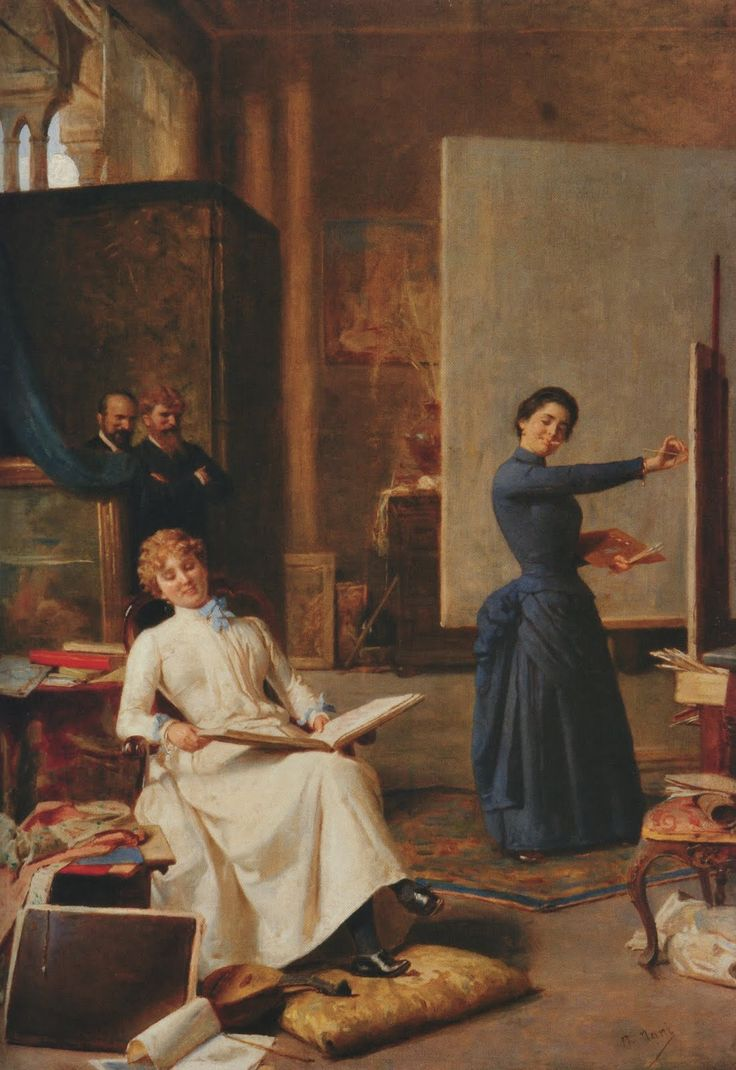 Credendosi sole (la pittrice). Napoleone Nani (Italiian, 1841-1899). As two men look on in the rear, the painter holds brushes and palette while seemingly is working on details on her painting. The sitter, illuminated by sunlight, reads a book while posing. Other props and the painter's tools of trade are shown throughout the room, suggesting that it is a studio.