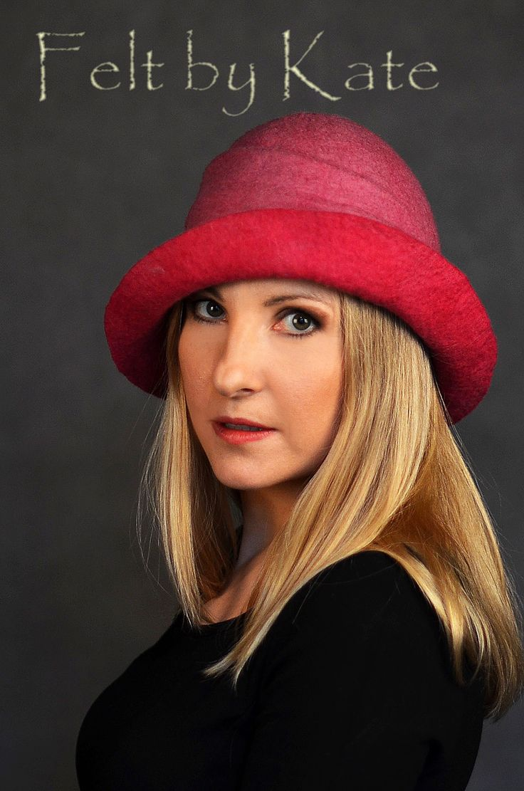 """Hat in shades of pink with gray fibers. Made of merino wool felted - """"Felt by Kate """"  https://www.facebook.com/FeltbyKate/"""