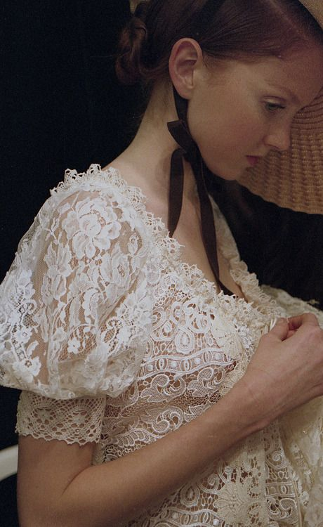 Lily Cole and  Christian Lacroix lace.