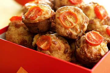 Bite-size ham and cheese muffins