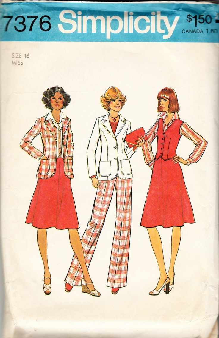 1976, 1970s Miss Size 16 Unlined Jacket, Skirt and Pants - Simplicity 7376 Vintage Sewing Patterns and Instructions: The pants and skirts have back zipper and waistband. The top-stitched lined vest wi