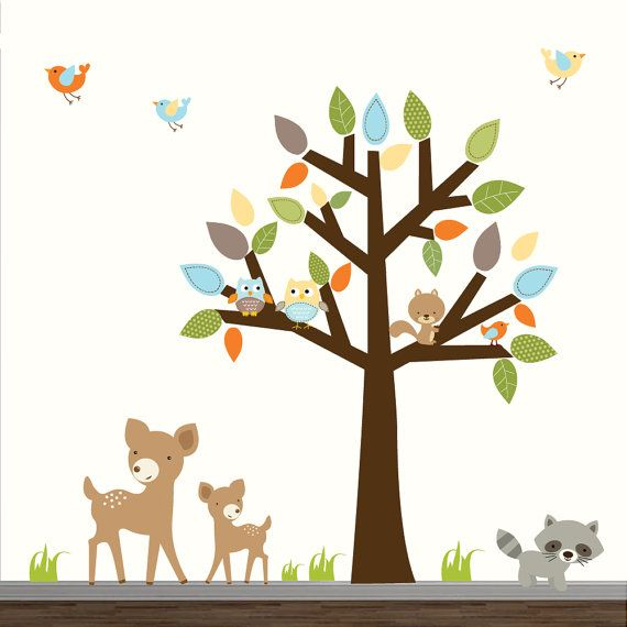 Children Forest Decal Set with Animals-Vinyl Wall by Modernwalls