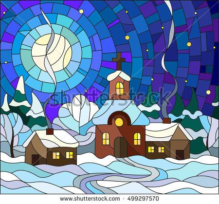 Winter landscape in stained-glass style Church and village houses on the background of snow, sky and moon