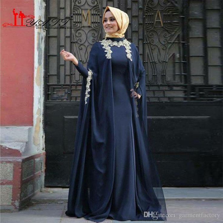 Modest Muslim Evening Gowns High Neck A Line Sweep Train Lace Appliqued Navy Blue Chiffon And Silk Like Satin Long Sleeve Eveing Gowns Cheap Black Evening Dresses Designer Maternity Evening Dresses From Garmentfactory, $130.66| Dhgate.Com