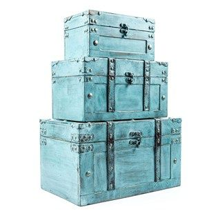 Don't settle for boring organizational solutions. Increase the rustic flair of your home or office with this shabby-chic Antique Turquoise Storage Trunk Box Set!    	Each MDF trunk features a distressed shade of turquoise, distressed faux leather strap accents, and antique gold grommet-style detailing. Coordinating swing latches make it easy to open and securely close each box. Perfect for a variety of uses, including storing kids' toys, jewelry, scarves and other ...