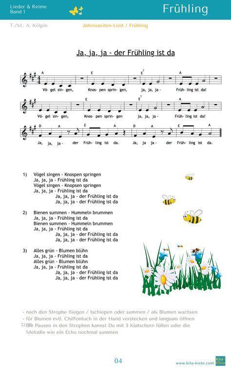 """""""Ja, ja, ja - der Frühling ist da"""" - ein Lied für ALLE Jahreszeiten - aus """"Lieder & Reime 1"""" - www.kitakiste.jimdo.com"""