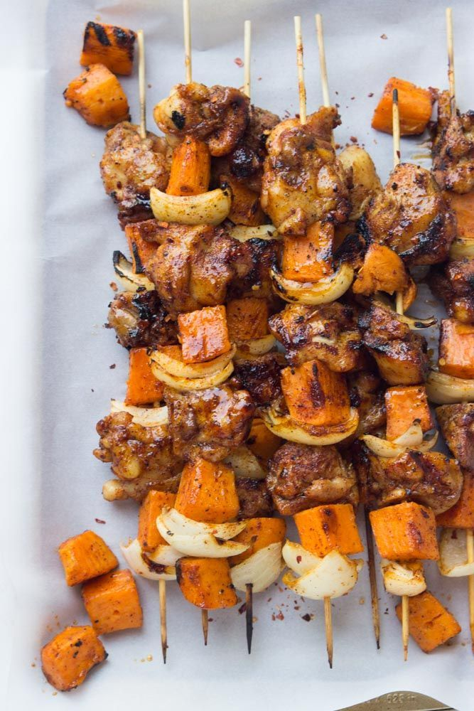 Sweet and spicy chicken and sweet potato kebabs with homemade spice rub and glaze. Made in about 30 minutes. Quick and easy healthy weeknight dinner.
