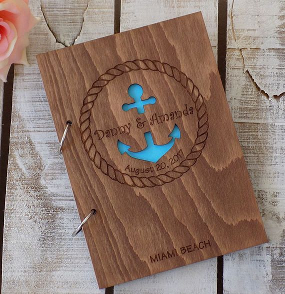 Beach Wedding Guest Book Anchor Wedding Guestbook Rustic