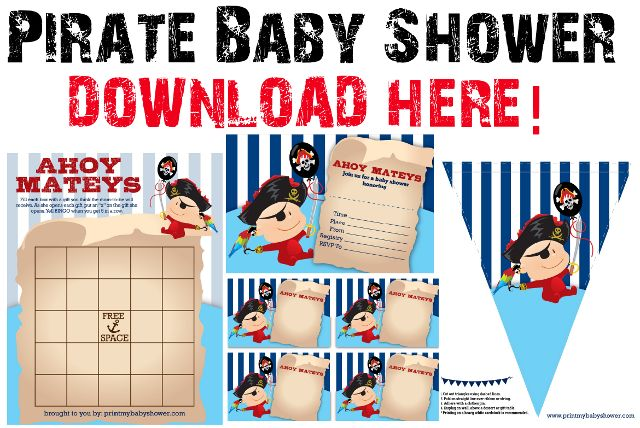 #PirateBabyShower Ahoy there matey! The pirate baby shower printable theme is here! It's free to download and to use for your boy baby shower. You get the pirate baby shower banner, bingo game, toppers and invitations: http://printmybabyshower.com/pirate-baby-shower-printable-invitations-and-decorations/