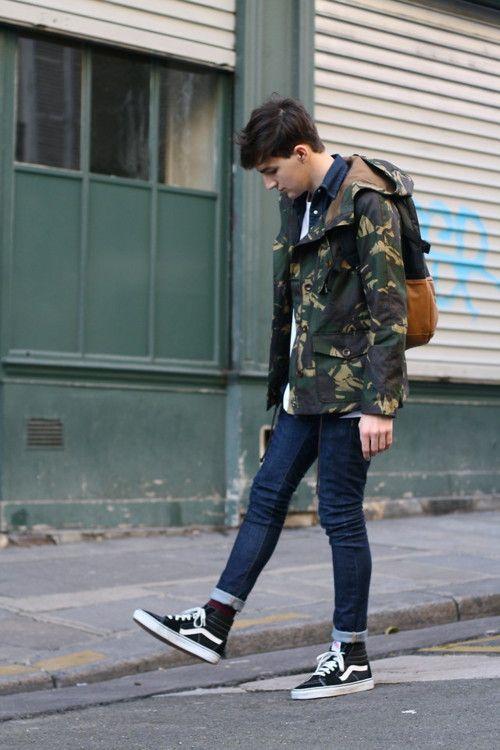 Camo jacket and Vans chukka