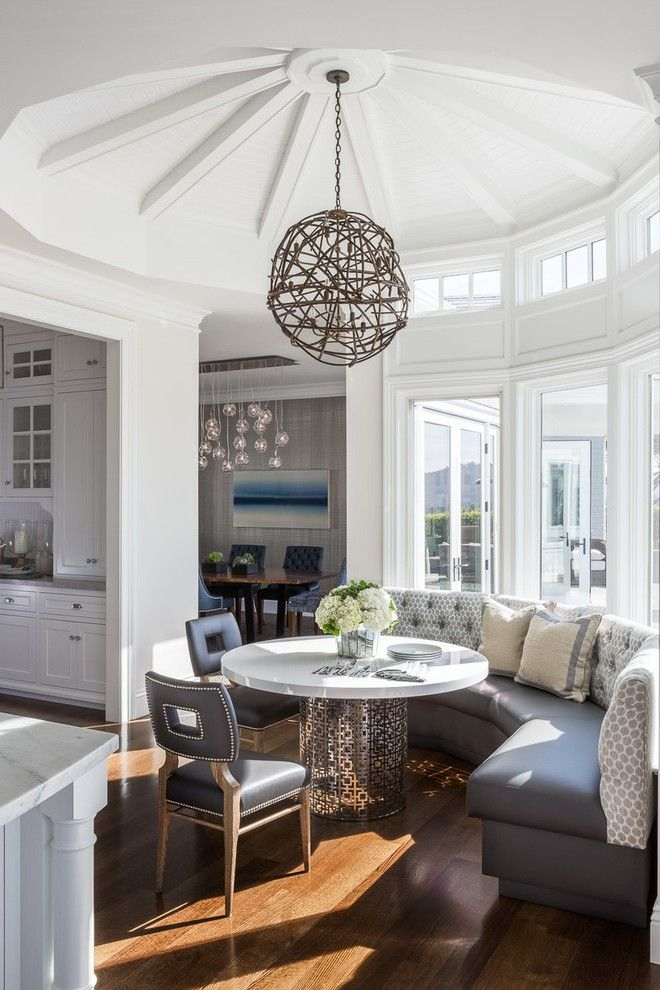 san francisco breakfast nook round table with contemporary decorative objects dining room transitional and palo alto twig light fixture