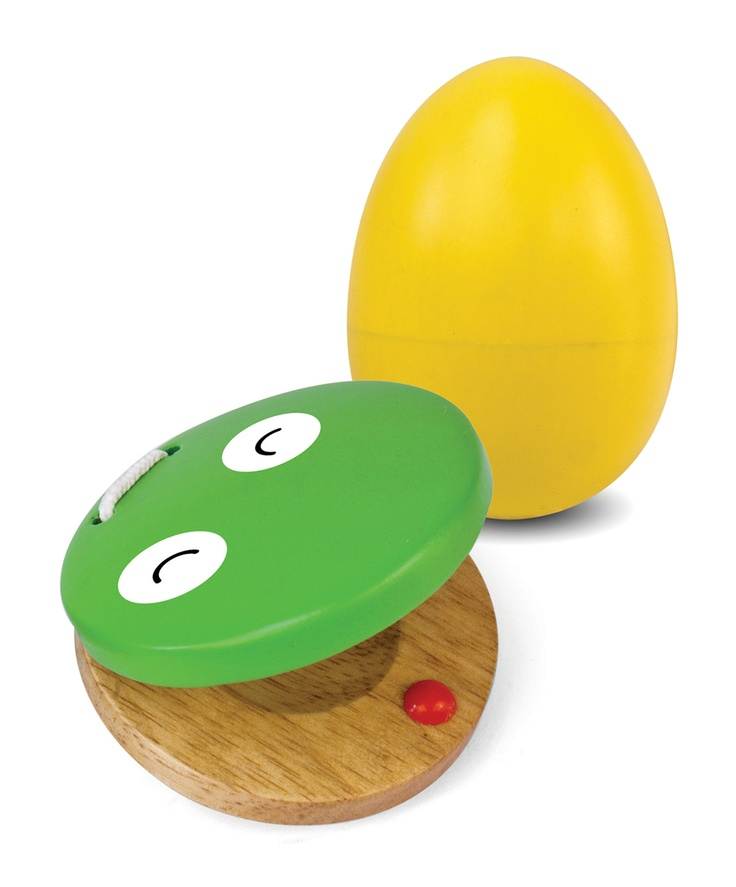 Rubberwood Castanet and Egg Shaker are perfect for small hands and help improve motor skills! #green tones® #eco instruments & toys