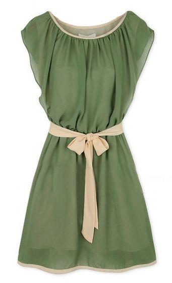 Army Green Round Neck Self-Tie Waist Chiffon Dress