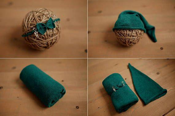Set petrol stetch wrap hat & headband newborn photography