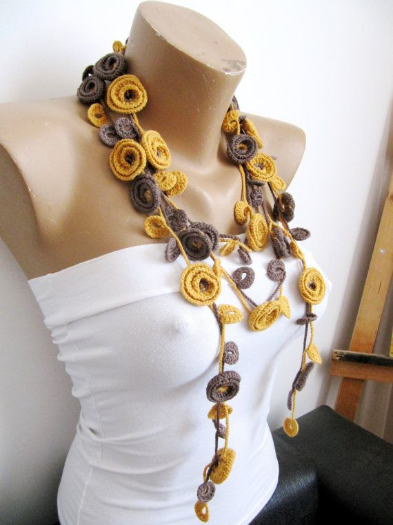 Crochet Necklace Mustard-Brown-ROSES necklace-Flower by byGuls
