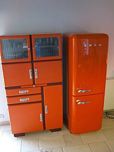 Meuble de cuisine vintage orange design r tro cuisine for Cuisine annee 60