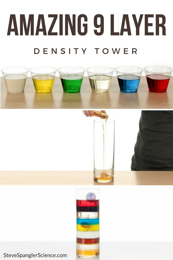"""Amazing 9 Layer Density Tower – SICK Science! Density differences cause objects to """"float"""" in liquids that are already stacked on top of each other."""
