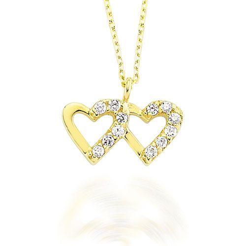 Altın Kolye - 14 Ayar Glorria İki Kalp Altın Kolye - CN0018