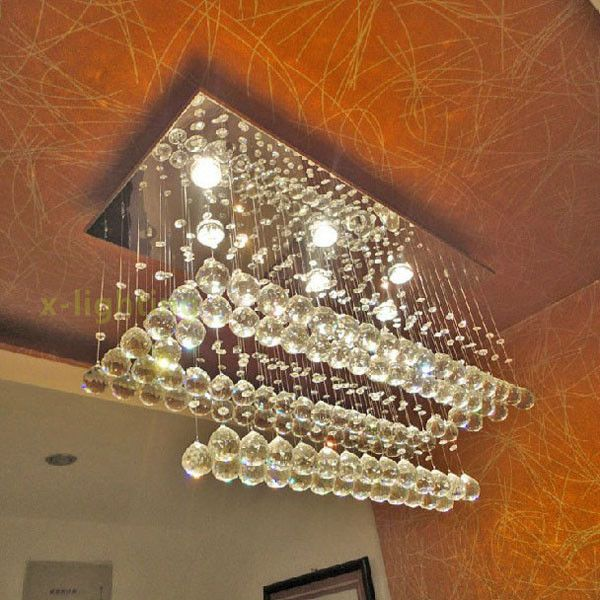 New Crystal Pendant Lamp Hanging Light RainDrop Chandelier LED Ceiling Lighting Contemporary