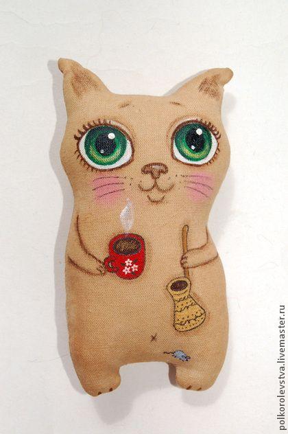 Котик-кофелюб с мышкой - бежевый,кот,котэ,котик,кофейный кот,игрушка кот