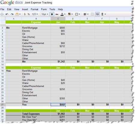roommate budget spreadsheet
