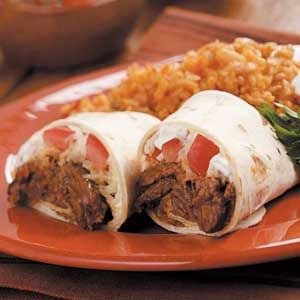 steak burritos - flank steak cooked in the slow cooker with taco seasoning packet