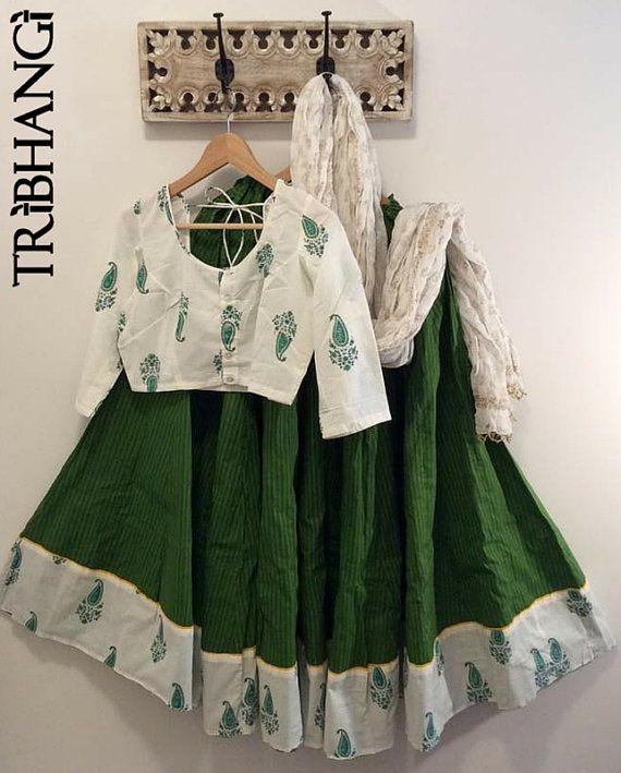 Green Jaipur block print gopi skirt/lehenga with by Tribhangi