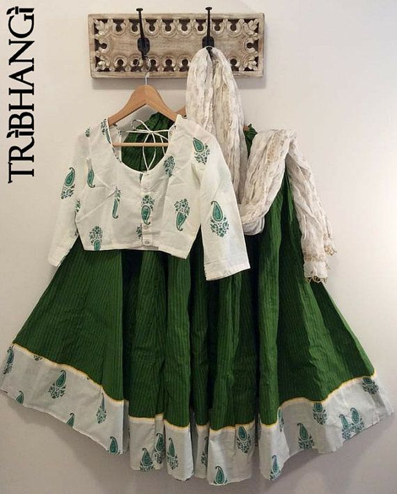 Green Jaipur block print gopi skirt/lehenga with by Tribhangi