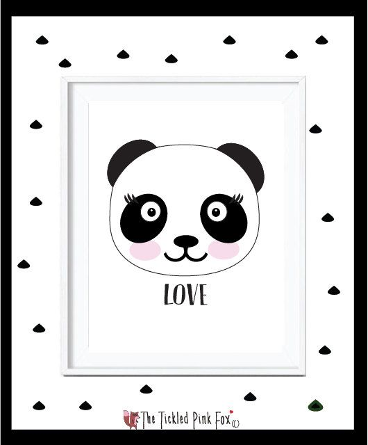 Panda Love Poster Print by thetickledpinkfox on Etsy