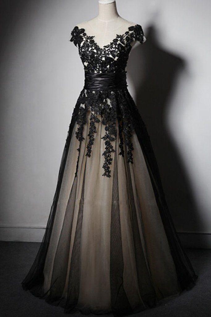 V-Neck Appliques Tulle Prom Dresses,Long Prom Dresses,Cheap Prom Dresses, Evening Dress Prom Gowns, Formal Women Dress,Prom Dress